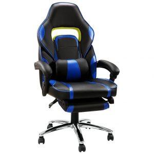Silla gaming azul y negra