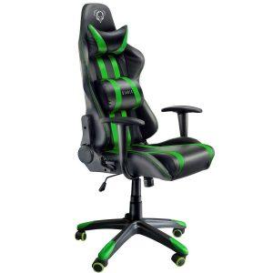 Silla gaming verde y negra